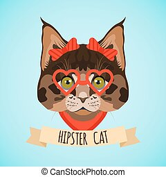 Hipster cat portrait - Hipster cat with glasses and bows...