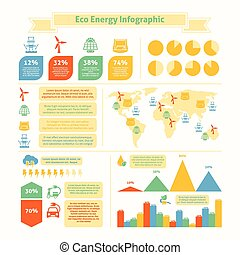 Eco energy infographic print - Eco natural green energy and...