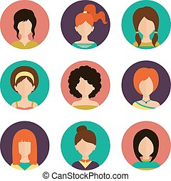 Women avatar set - Women avatar female human faces social...