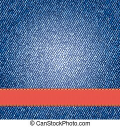 Denim texture with label ribbon. Vector Illustration