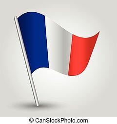onduler, drapeau, vecteur, francais,  3D