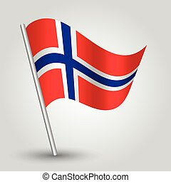 vector 3d norwegian waving flag on pole - national symbol of...