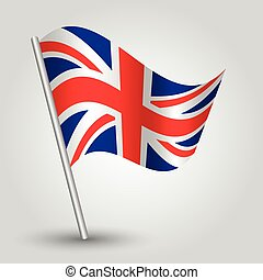 vector 3d waving english flag on pole - national symbol of...
