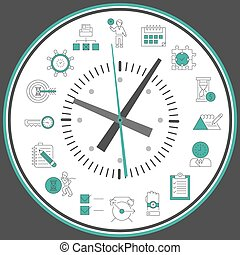 Time management clock - Time management concept with...