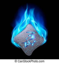 Runic stone - Mysterious bend stone with magic rune burning...