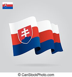 Flat and waving Slovak Flag Vector illustration