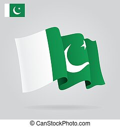 Flat and waving Pakistani Flag. Vector illustration