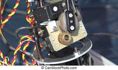 Pinion mechanism of the robot. 4K.