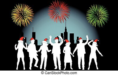 Vector Illustration - City Celebration People