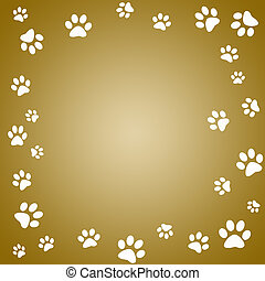 Paw print - Brown paw print frame with white paw prints