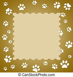 Paw print frame - Brown paw print frame with white paw...