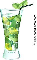 Mojito cocktail realistic - Mojito realistic cocktail in...