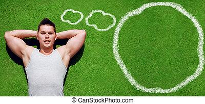 Fitness, sport, workout - concept Handsome sportsman...