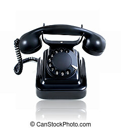 Retro vintage rotary telephone isolated on a white background