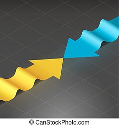Wavy arrows - Isometric infographics paper arrows. Picture...