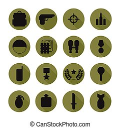 Military silhouette pictogram and war icons set with long shadow. Army infographic design elements. Illustration in flat style.