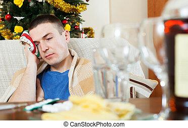 após, ressaca, celebrando, ano, Novo, sujeito, tendo