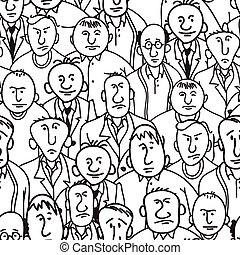 Men. Seamless background - Group of men in cartoon style....