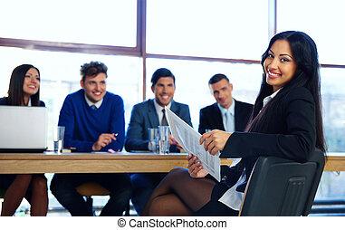 empresa / negocio, mujer, Sentado, en, entrevista, en,...