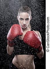Beautiful woman wearing boxing gloves - Beautiful woman in...