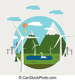 Flat vector concept illustration for ecology