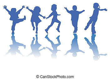 heureux, enfants, silhouettes
