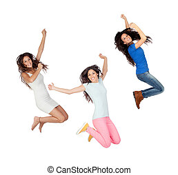 Three young girls jumping