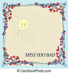 Miss you card - Floral card