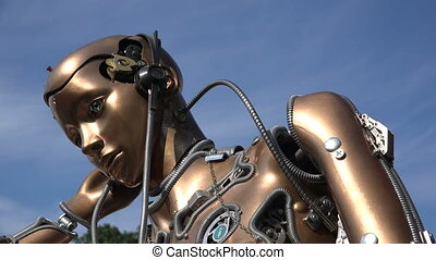Humanoid robot. Woman. 4K.