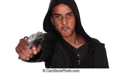 bad boy with gun - young black man pointing gun isolated on...