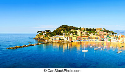Sestri Levante, silence bay sea and beach view. Liguria,...