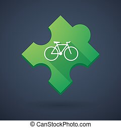 Puzzle piece icon with a bicycle