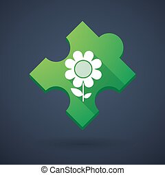Puzzle piece icon with a flower