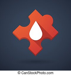 Puzzle piece icon with a blood drop