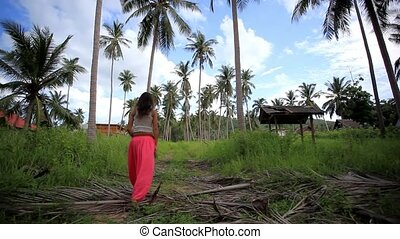 Young woman lost in the jungle, calls for help. Koh Samui,...