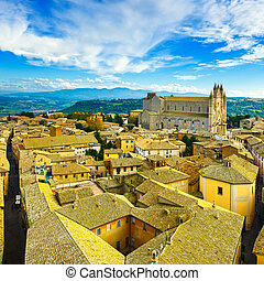 Orvieto medieval town and Duomo cathedral church aerial view...