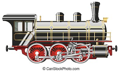 steam locomotive - detailed vector illustration of a steam...