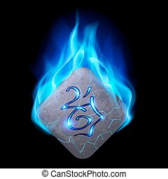 Runic stone - Ancient diamond-shaped stone with magic rune...