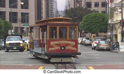 SF Cable Car WS - San Francisco Cable Car pulls into a stop...