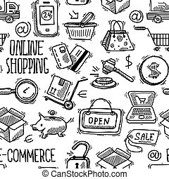 Online shopping pattern - E-commerce online shopping sketch...