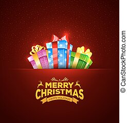 Colorful gift boxes with bows - Vector illustration of...