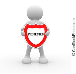 Protected - 3d people - man, person with a shield. Protected