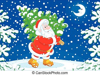 Santa with a Christmas tree - Santa Claus carrying a small...
