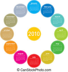 Colorful Calendar for 2010.