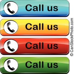 call us colorful buttons - illustration of colorful web...