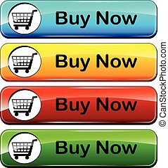 buy now icon - illustration of colorful web buttons for buy...