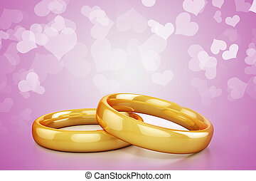 3d gold wedding rings on hearts background