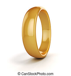 3d gold wedding ring on white background
