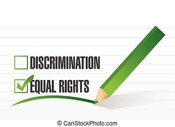 equal rights selection illustration design over a white...