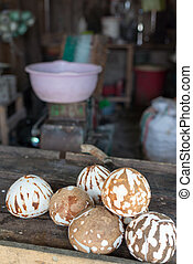 Coconuts ready to become flour - Ripe peeled coconuts...
